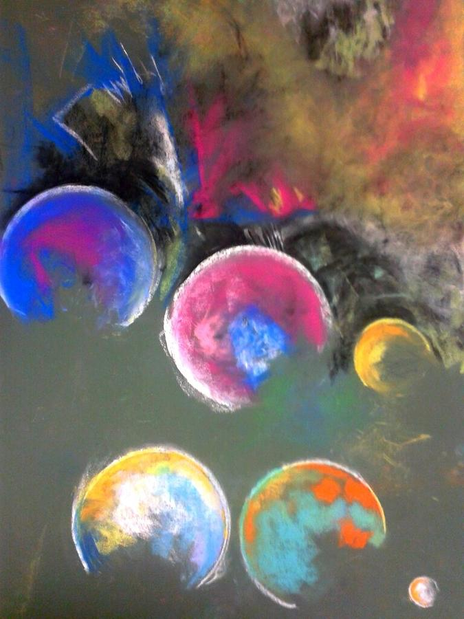Moons Of Jupiter Pastel  - Moons Of Jupiter Fine Art Print