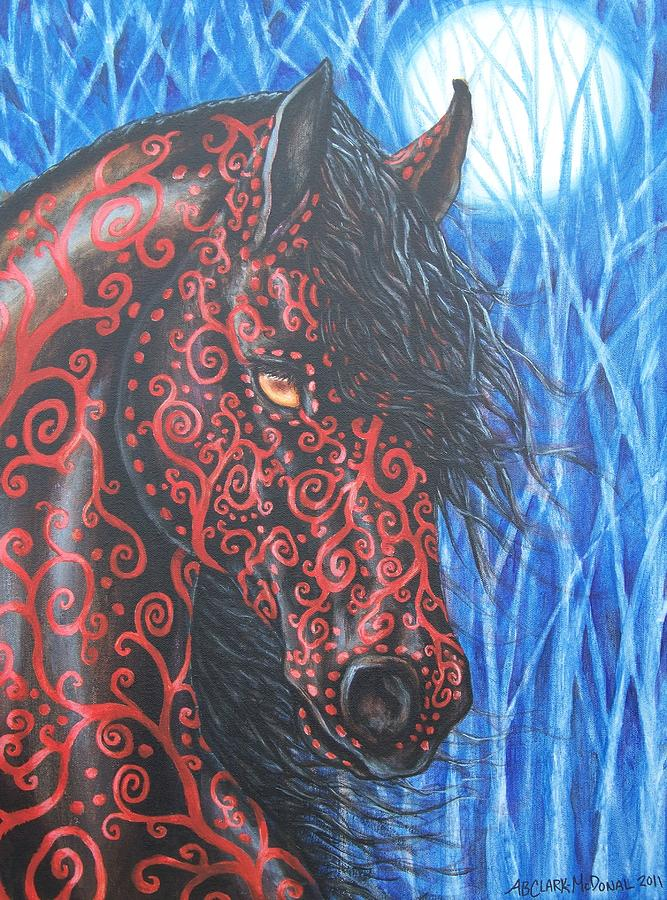 Moonsfyre Stallion Of Nyteworld Painting  - Moonsfyre Stallion Of Nyteworld Fine Art Print
