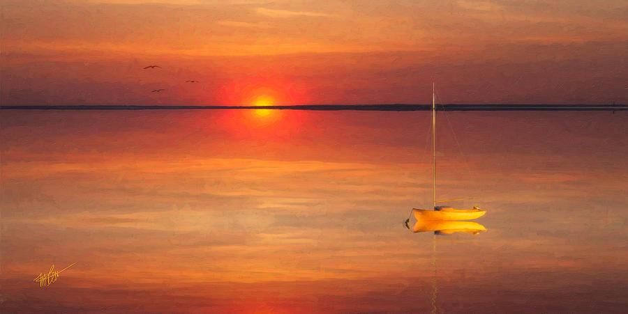 Moored At Sunset Digital Art