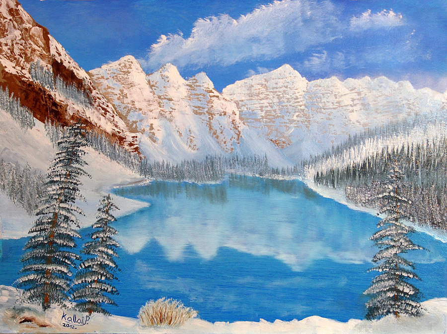Moraine Lake By Winter Time  Painting  - Moraine Lake By Winter Time  Fine Art Print