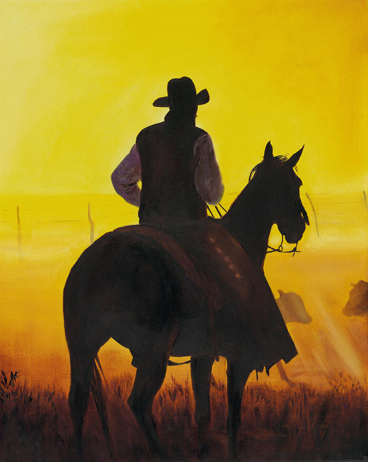 Cowboy Painting - Morning Fog by Don Dane
