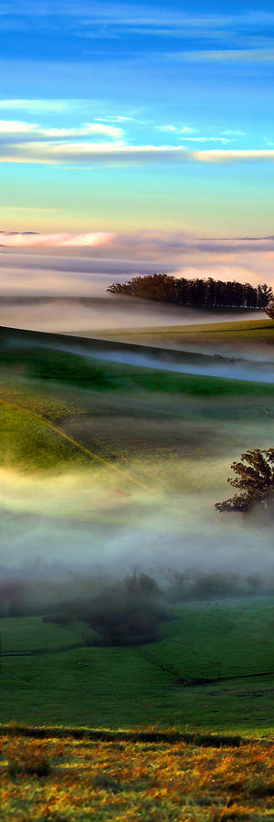 Morning Fog Over Two Rock Valley Diptych Digital Art