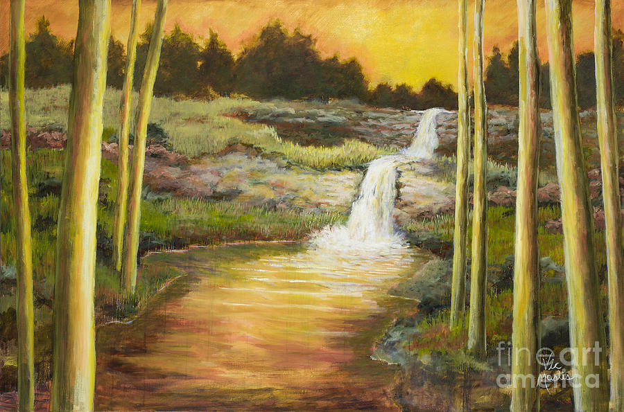 Waterfall Painting - Morning Glow By Vic Mastis With Oil And Gold Leaf by Vic  Mastis