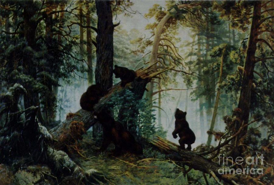 Morning in a pine forest painting
