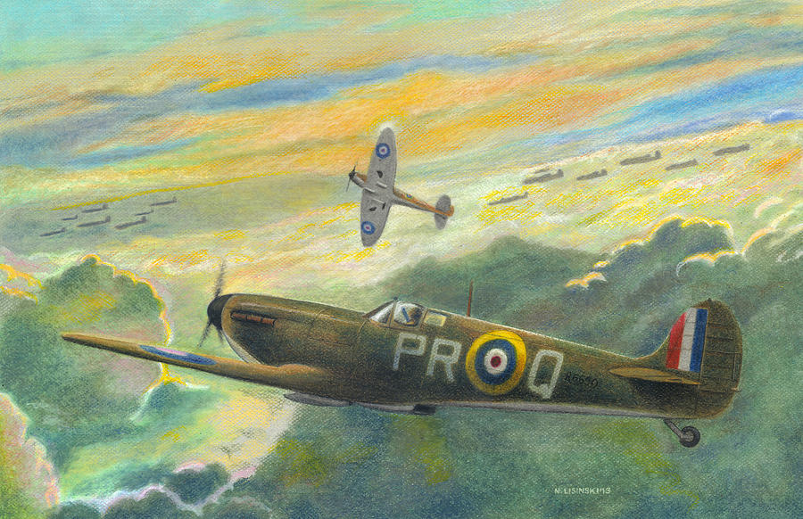 Spitfire Painting - Morning Mission by Norb Lisinski