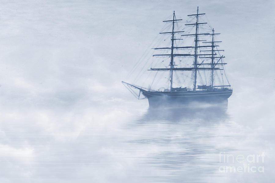 Sailing Ship Painting - Morning Mists Cyanotype by John Edwards
