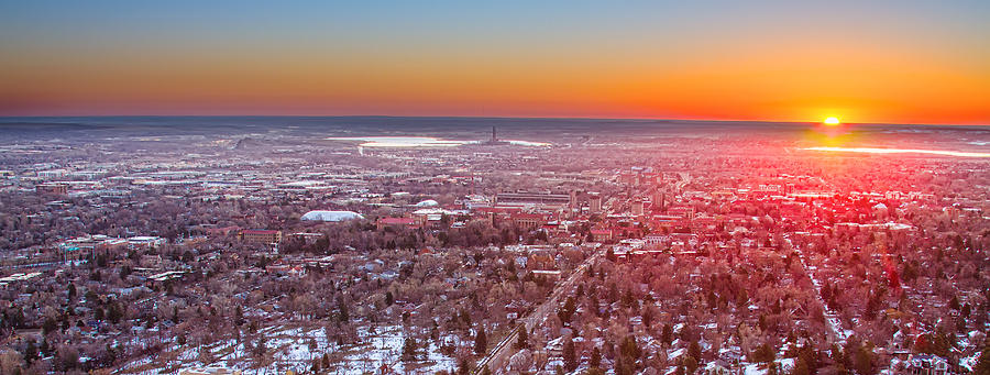 Morning Sunrise Over Boulder Colorado University Panorama Photograph