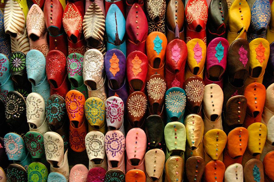 Babouches Photograph - Moroccan Babouches Old Medina Marrakesh Morocco by Ralph A  Ledergerber-Photography