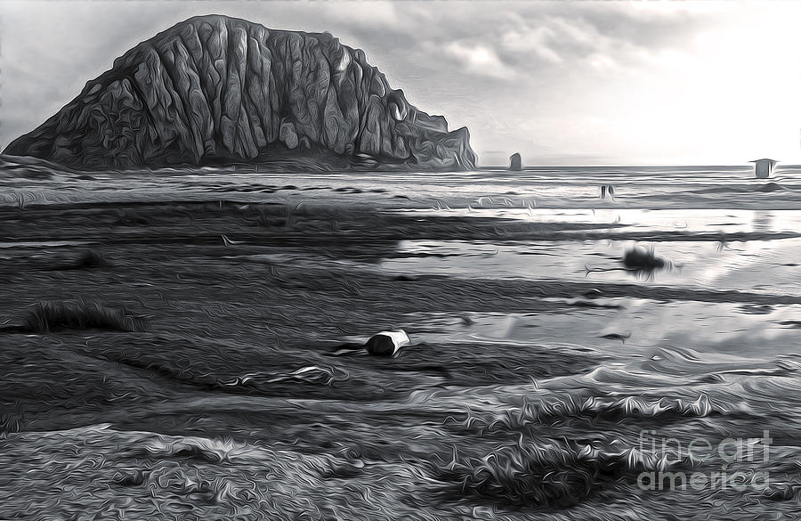 Morro Bay - Morro Rock - Desaturated Painting  - Morro Bay - Morro Rock - Desaturated Fine Art Print
