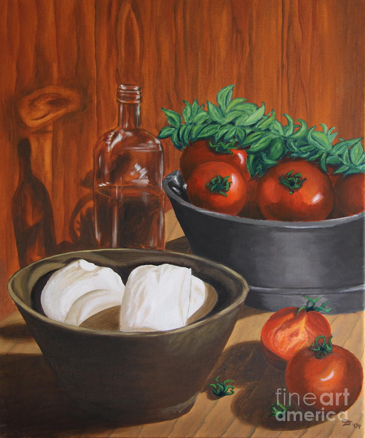 Morzarella And Tomatos Painting  - Morzarella And Tomatos Fine Art Print