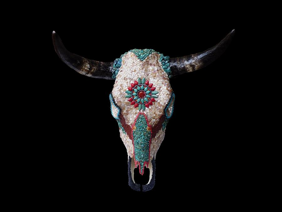 Cow Sculpture - Mosaic Cow Skull by Katherine Sutcliffe