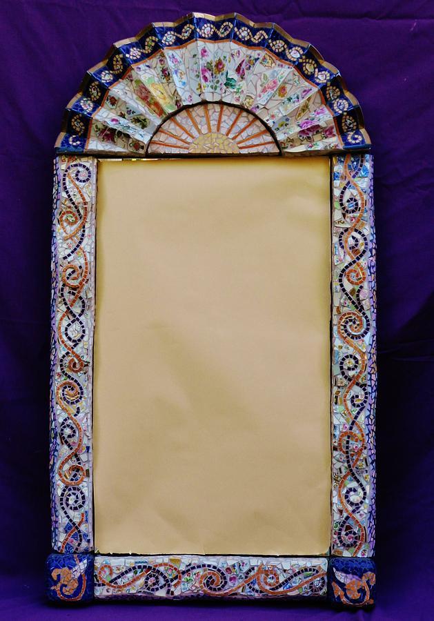 Mosaic Fan Frame Ceramic Art