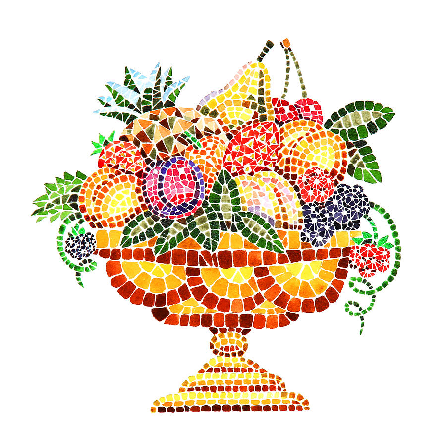 Mosaic Fruit Vase Painting  - Mosaic Fruit Vase Fine Art Print