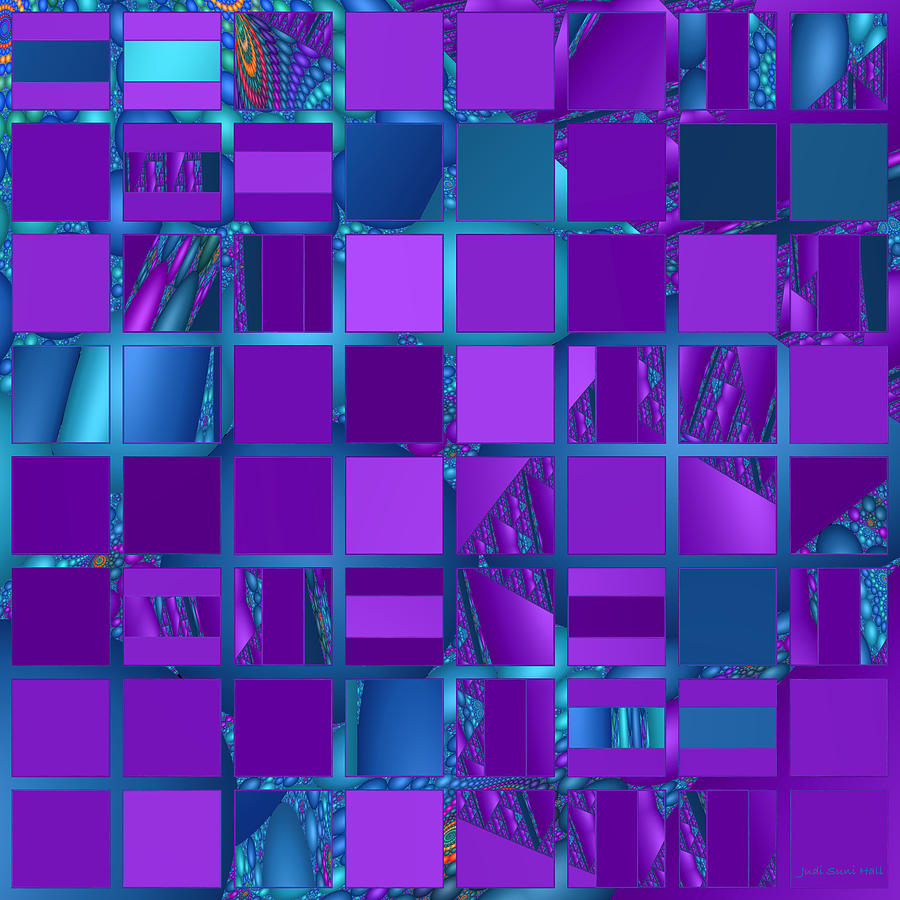 Mosaic In Purple And Teal Digital Art