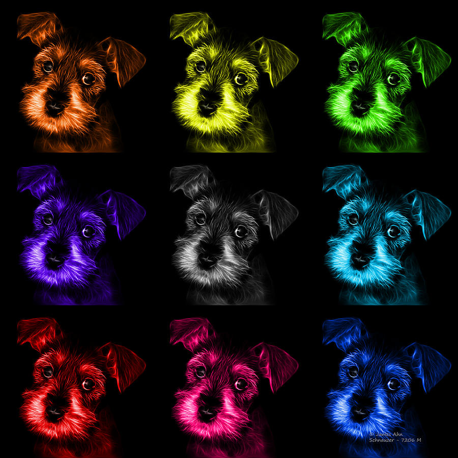 Mosaic Salt And Pepper Schnauzer Puppy Pop Art 7206 F -bb Digital Art  - Mosaic Salt And Pepper Schnauzer Puppy Pop Art 7206 F -bb Fine Art Print