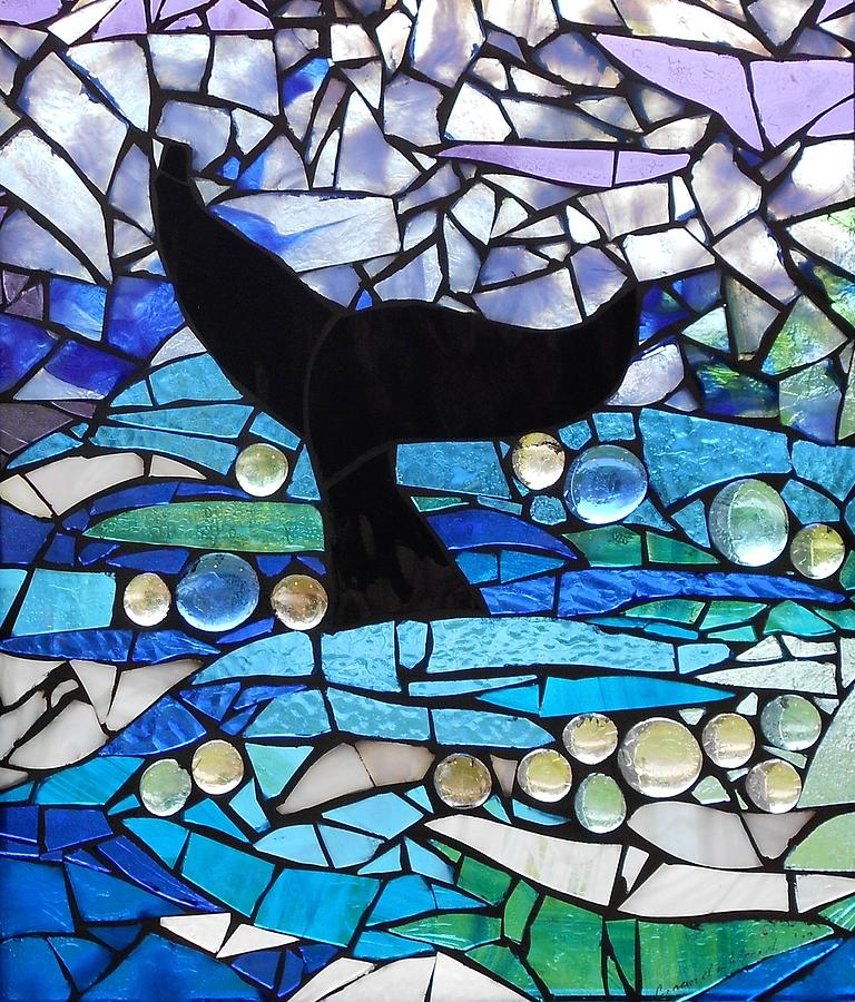 Whale Glass Art - Mosaic Stained Glass - Whale Tail by Catherine Van Der Woerd