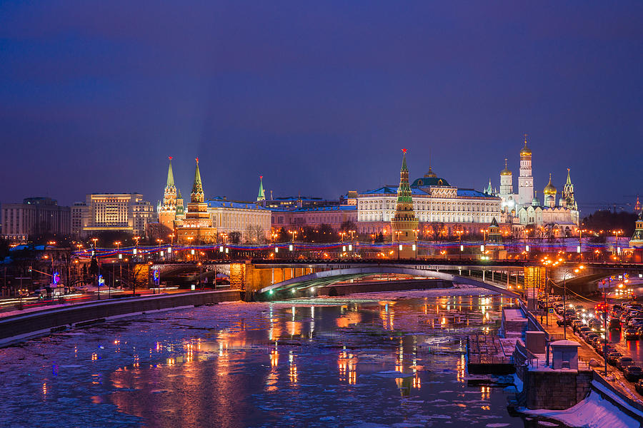 Moscow Kremlin And Big Stone Bridge At Winter Night - Featured 3 Photograph