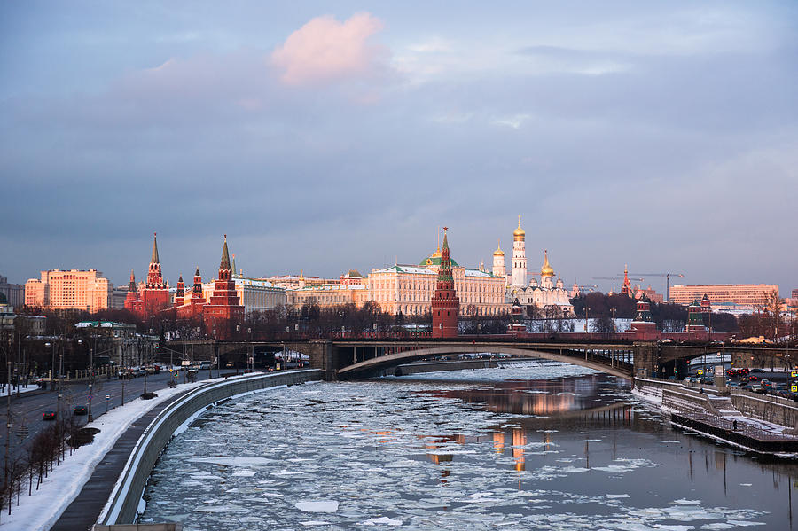 Moscow Kremlin In Winter Evening - Featured 3 Photograph
