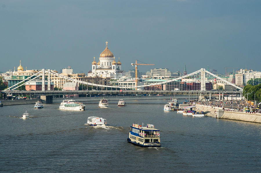 Moscow-river Traffic In Summertime - Featured 3 Photograph