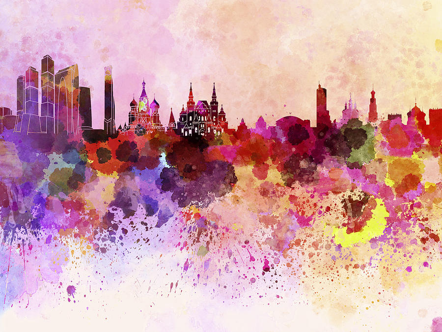 Moscow Skyline In Watercolor Background Digital Art By