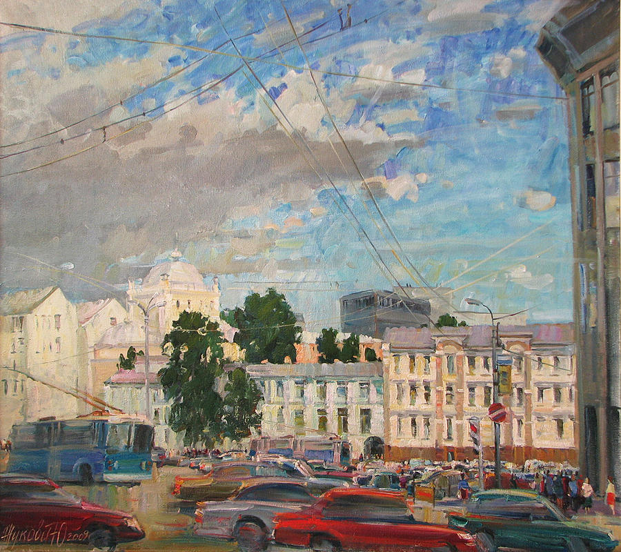 Landscape Painting - Moscow Summer 09 by Juliya Zhukova