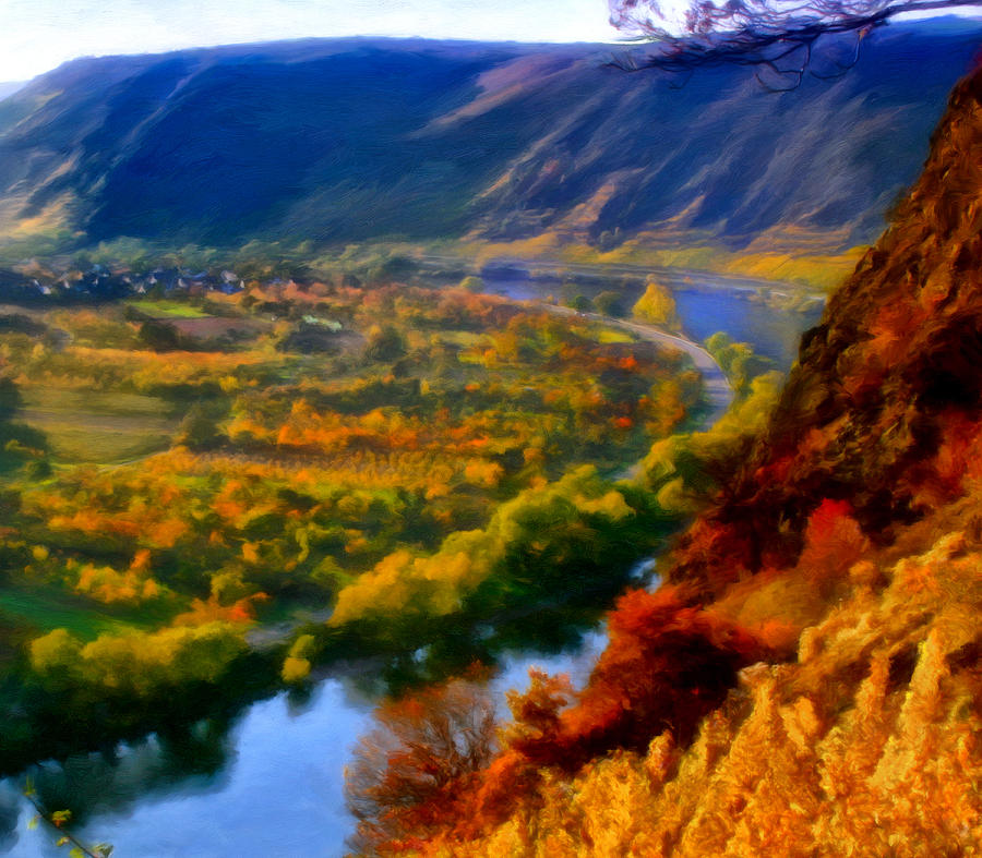 Mosel In The Fall Painting  - Mosel In The Fall Fine Art Print