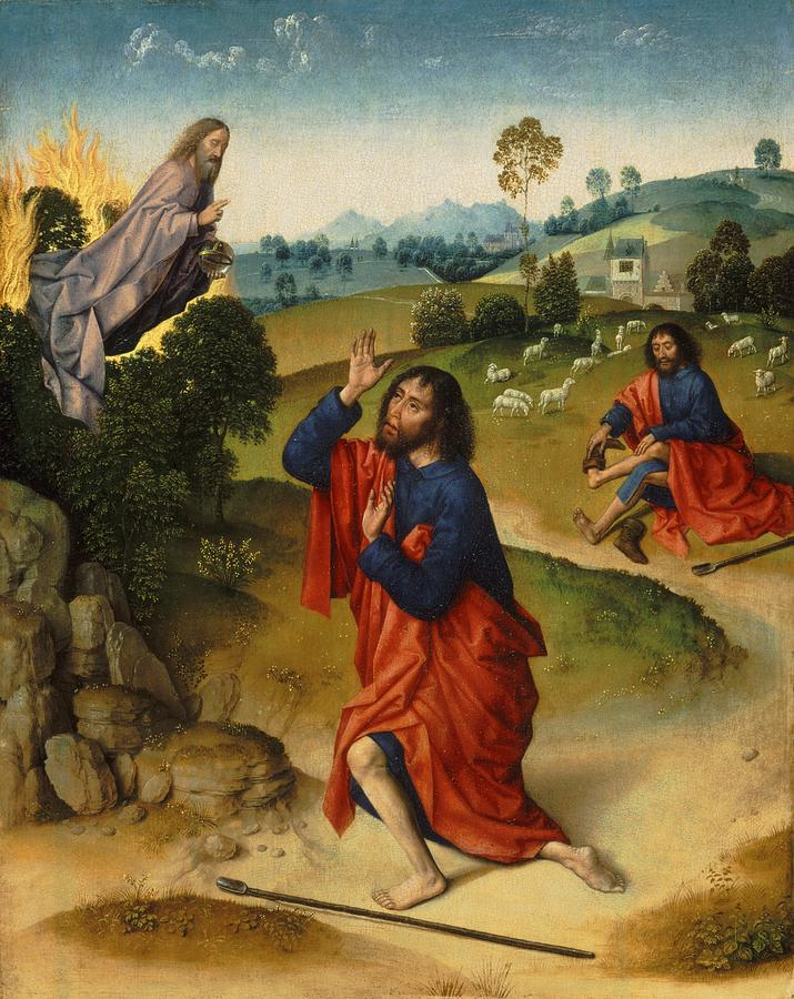 Moses And The Burning Bush Painting by Dieric Bouts
