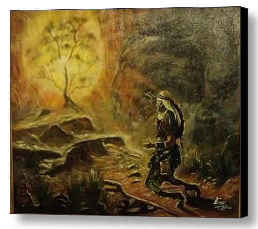 Moses At Burning Bush Painting by Tommy Perez