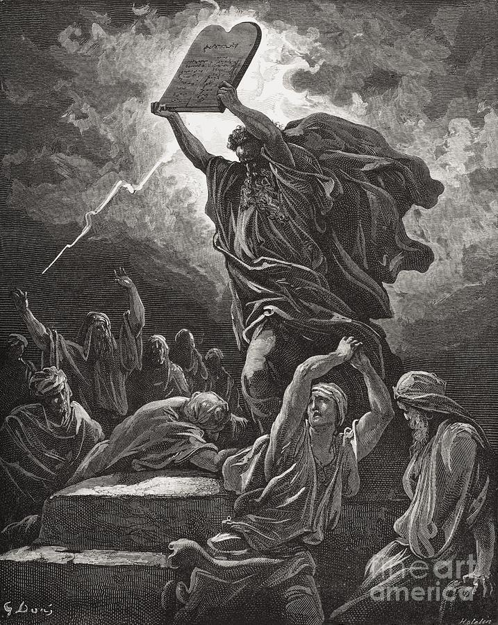 Moses Breaking The Tablets Of The Law Painting  - Moses Breaking The Tablets Of The Law Fine Art Print