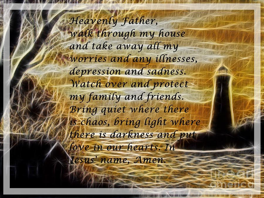 Most Powerful Prayer With Lighthouse Scene Mixed Media