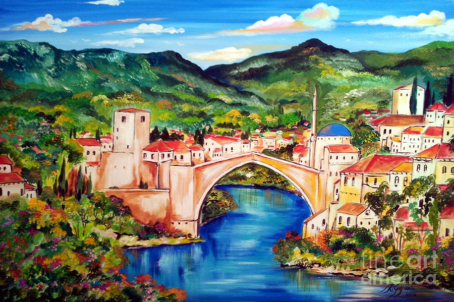 Mostar Painting By Roberto Gagliardi