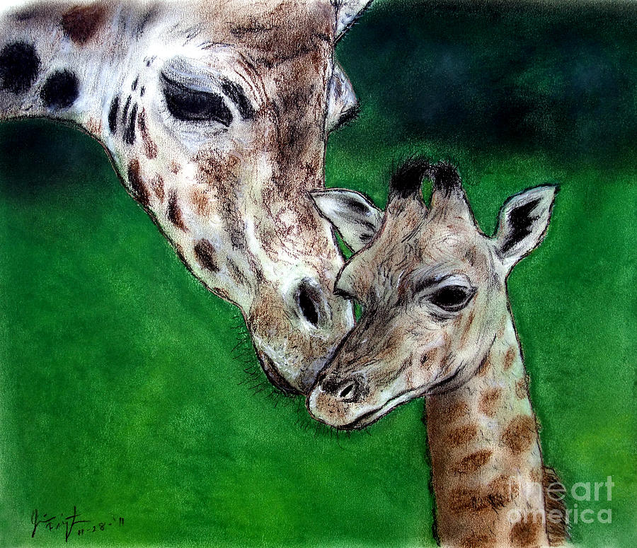 Mother And Baby Giraffe Painting  - Mother And Baby Giraffe Fine Art Print