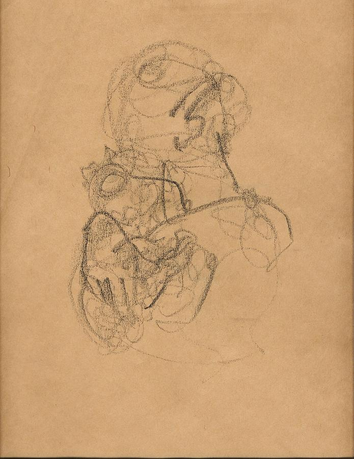 Mother And Baby With Bonnet Drawing