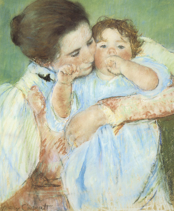Mother And Child Against A Green Background Pastel  - Mother And Child Against A Green Background Fine Art Print