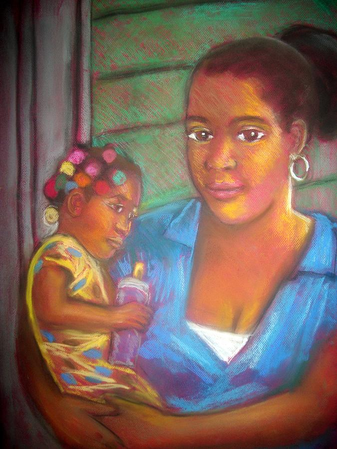 Mother And Child Pastel
