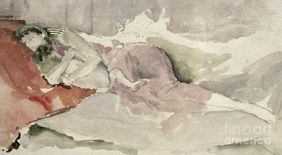 Watercolour Painting - Mother And Child On A Couch by James Abbott McNeill Whistler