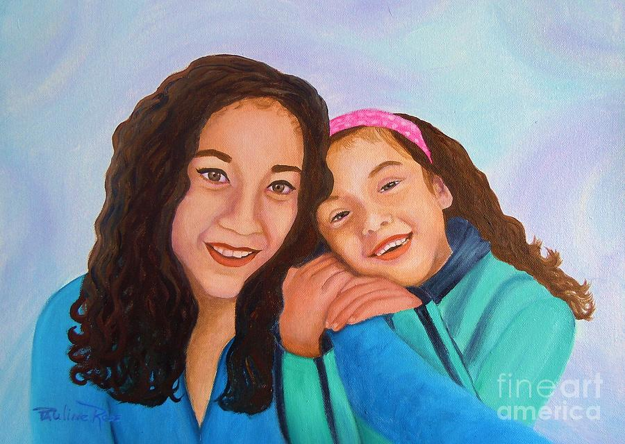 Mother And Daughter Painting  - Mother And Daughter Fine Art Print