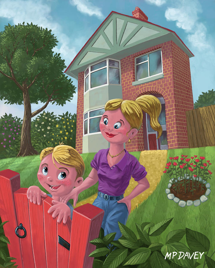 Mother And Son In Garden Painting