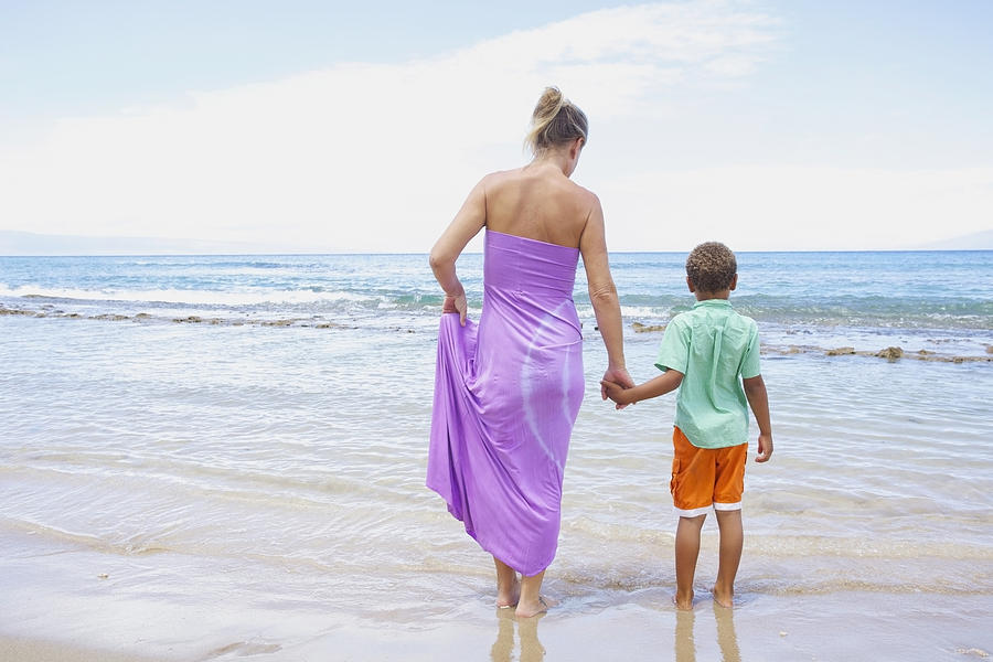 Mother And Son On Beach Photograph