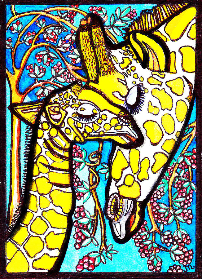 Mother Giraffe With Baby Painting