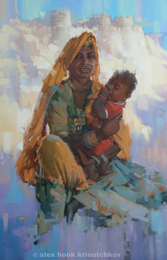 Oriental Painting - Mother Of Jaisalmer by Alex Hook Krioutchkov