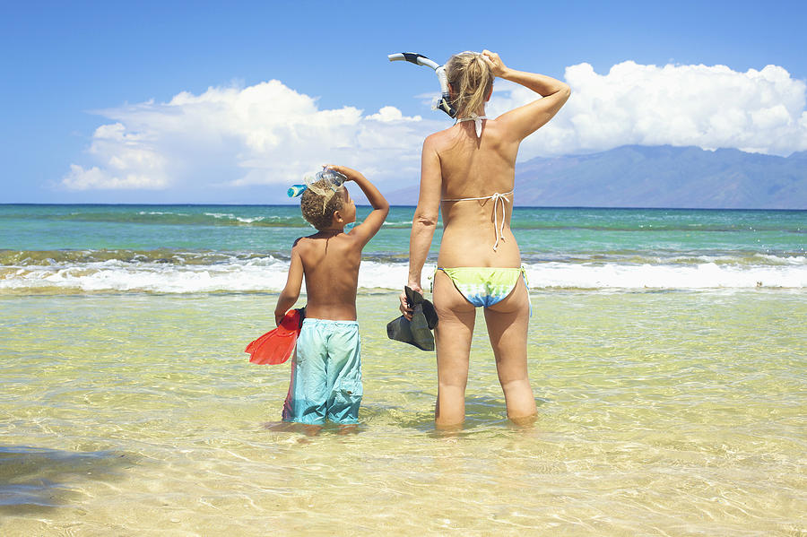 Mother Son Snorkel Photograph  - Mother Son Snorkel Fine Art Print