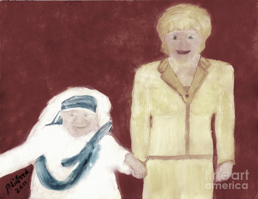 Mother Teresa And Princess Diana In Heaven 3 Painting  - Mother Teresa And Princess Diana In Heaven 3 Fine Art Print