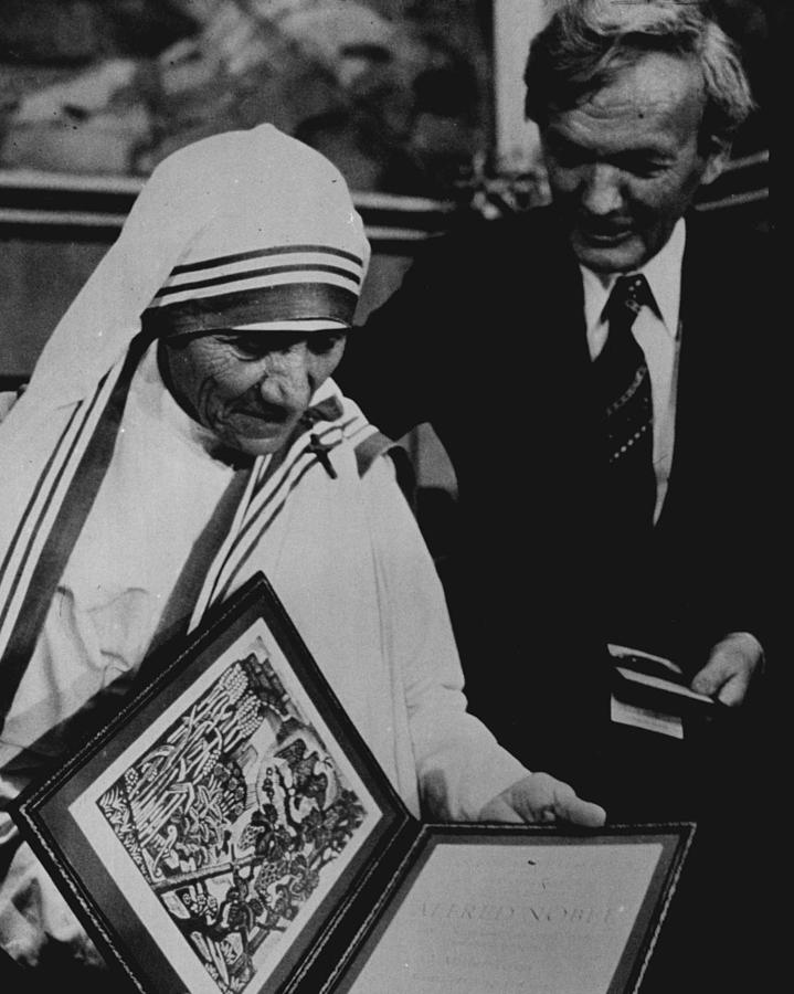 Classic Photograph - Mother Teresa Gets Award by Retro Images Archive