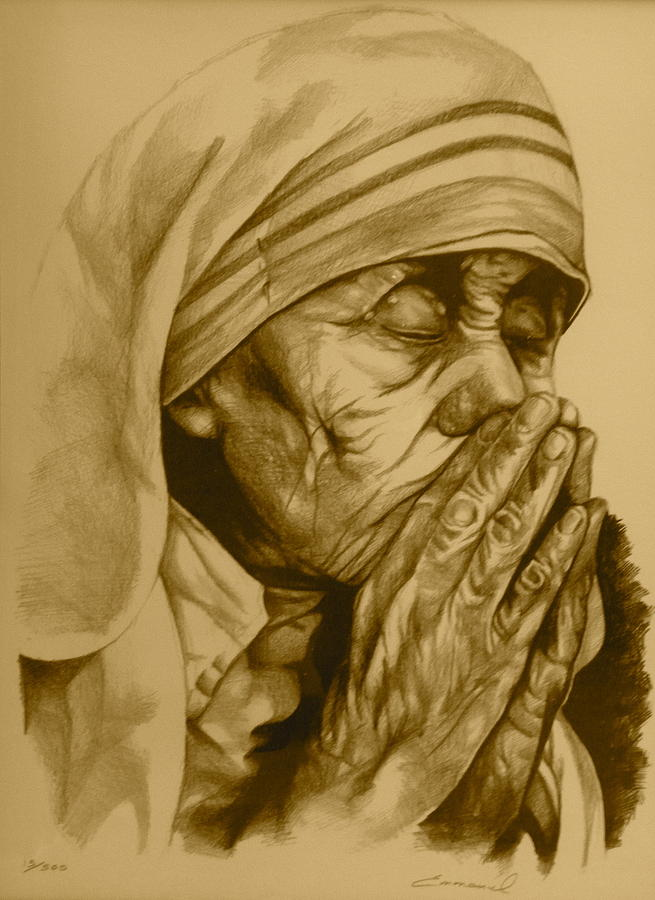 Mother Therese Of Calcuta Drawing  - Mother Therese Of Calcuta Fine Art Print