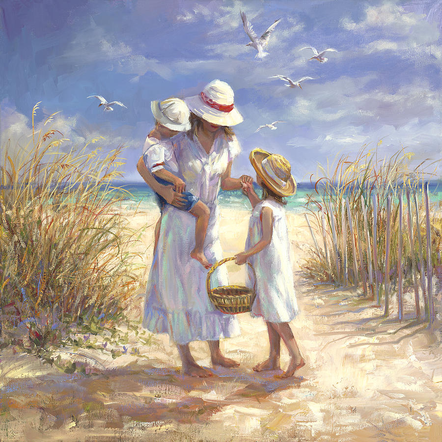 mothers day beach painting by laurie hein