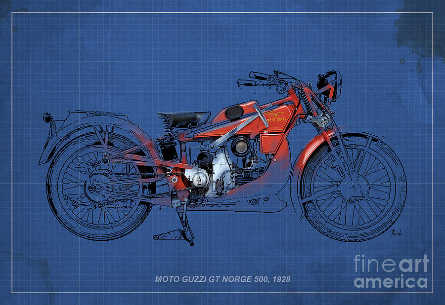 Moto Guzzi Gt Norge 500 1928 Digital Art
