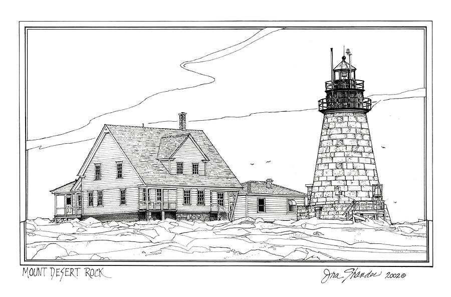Mont Desert Lighthouse Drawing - Mount Desert Rock Lighthouse by Ira Shander