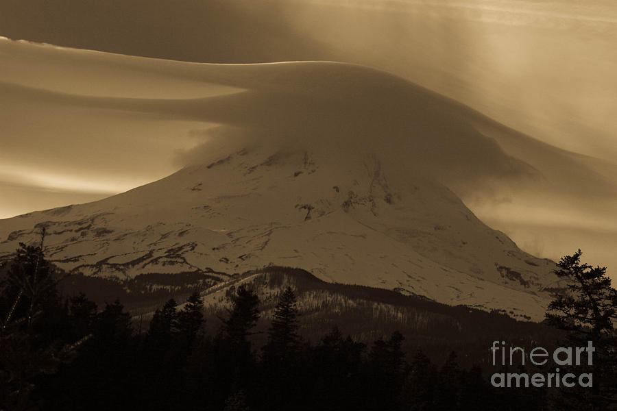 Oregon Photograph - Mount Hood In The Clouds by Cari Gesch