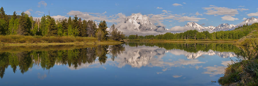 Mount Moran On Oxbow Bend Panorama Photograph